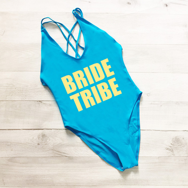 Cross Back One Piece Swimsuit BRIDE TRIBE Letter Print Plus Size Swimwear Women Black mayo Sexy Bodysuit monokini Swim Suit Gold