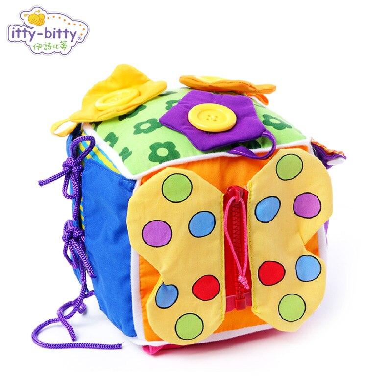 Apprendre à Robe Souple Activité Bébé Laçage Jeu Jouets Bouton Cube Jouer Éducatifs Bloc pour Enfants Compétence Maternelle D'anniversaire Cadeau