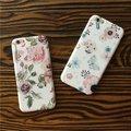 Para o caso de telefone apple iphone 6 6 s plus hd limpar flor elegante Rosa Suave TPU Voltar Caso Capa Protetora shell para iphone6 além de