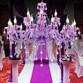 Europäischen D95cm Lila Decora Tiffany LED Kristall Kronleuchter Lampe Kristall Moderne Beleuchtung AC Garantiert 100% Kristall Anhänger Lampe-in Kronleuchter aus Licht & Beleuchtung bei
