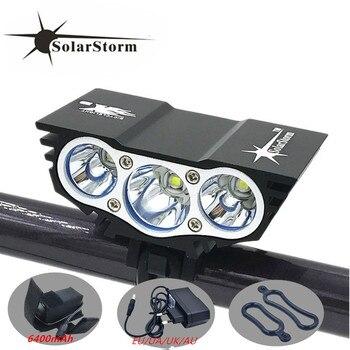 Solarstorm x3 자전거 6000 루멘 4 모드 xm-l t6 led 사이클링 전면 라이트 배터리 팩 + 충전기