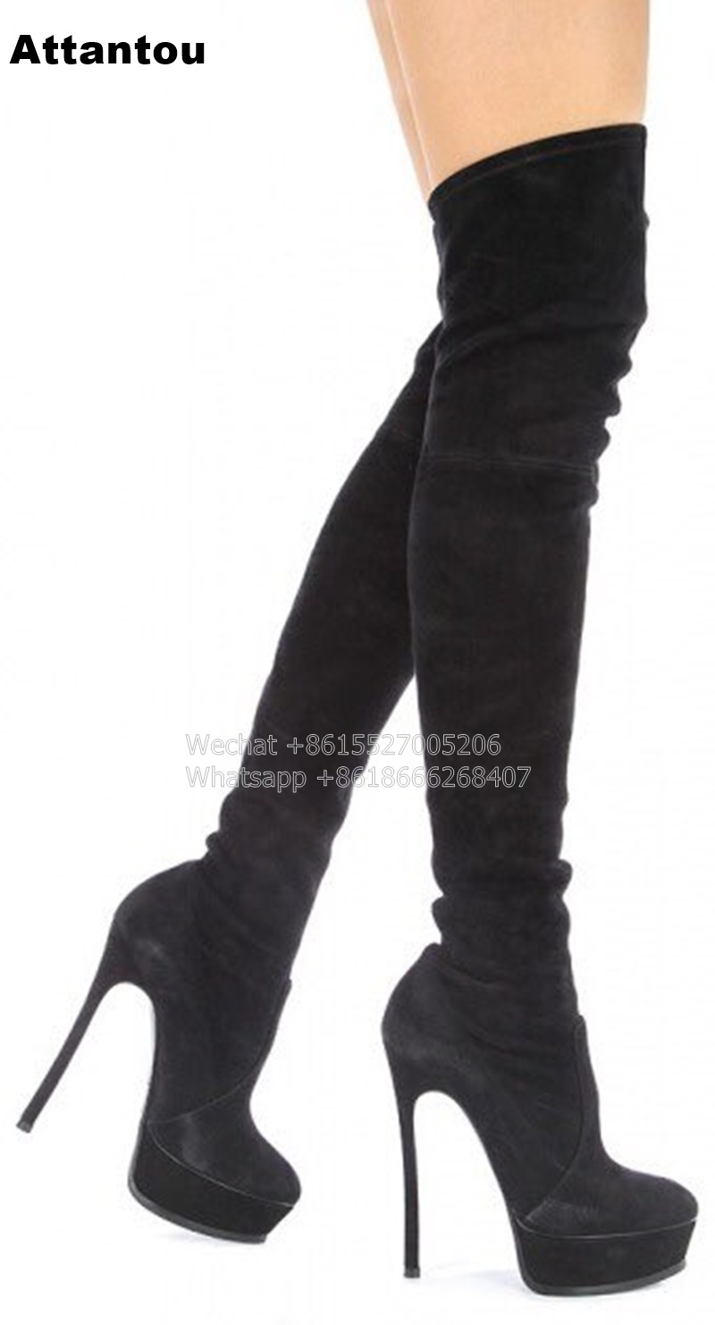 Fashion Slip On Long Boots Women Platform Black Suede Leather Stretch Over the Knee Boots Thin High Heels allbitefo fashion sexy nubuck leather stretch material high heels platform women boots over the knee high boots long boots
