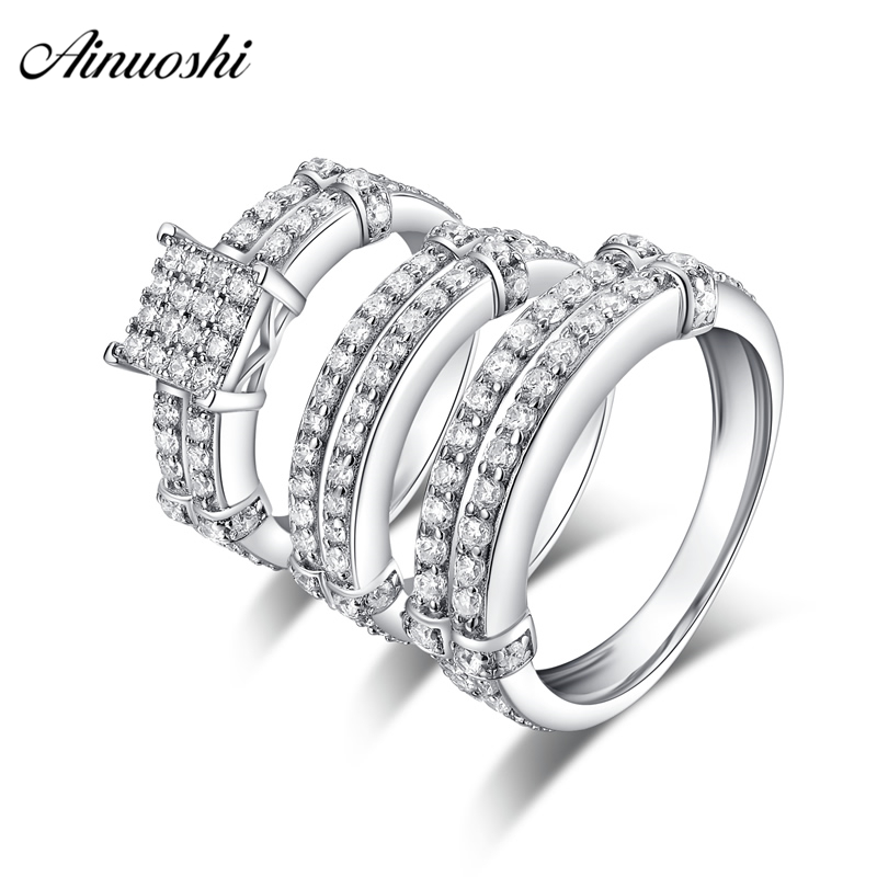 AINUOSHI 925 Sterling Silver Couple Wedding Engagement 4 Prongs Rings Set Geometry Men Anniversary Lovely Promise