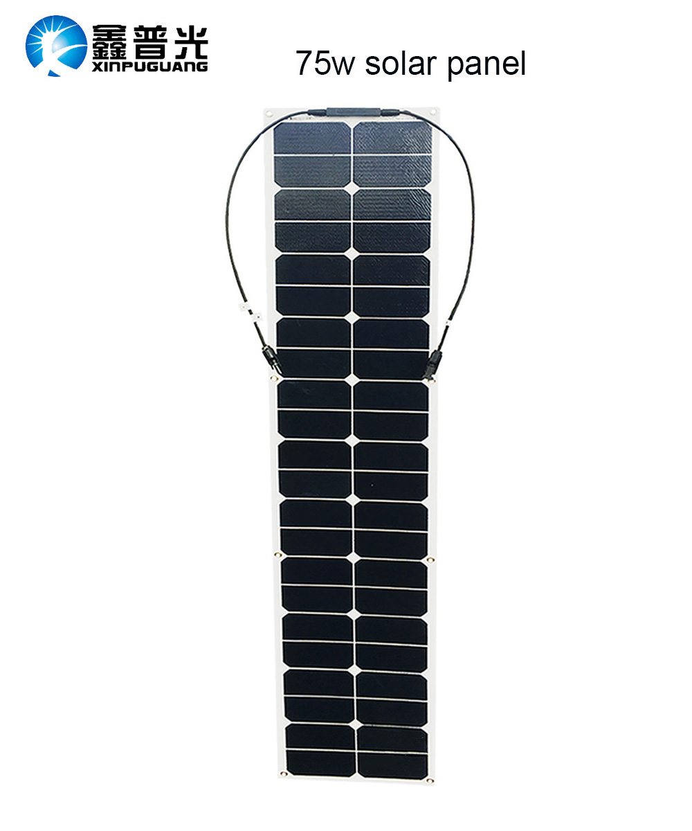 75w semi flexible solar panel ETFE solar module efficient cell MC4 connector for 12v battery RV car yacht power charger h 001 solar battery cell component waterproof mc4 connector black 2 pcs