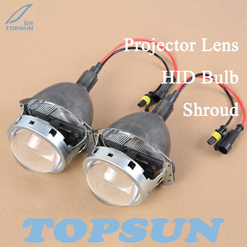 GZTOPHID Free Shipping 3 Bifocal Q5 Projector Lens, 35W HID bulb and Shroud, for H1 H4 H7 H11 9005 9006 Socket gztophid 3 bifocal q5 projector lens 35w hid bulb shroud and high low beam control wire for h1 h4 h7 h11 9005 9006