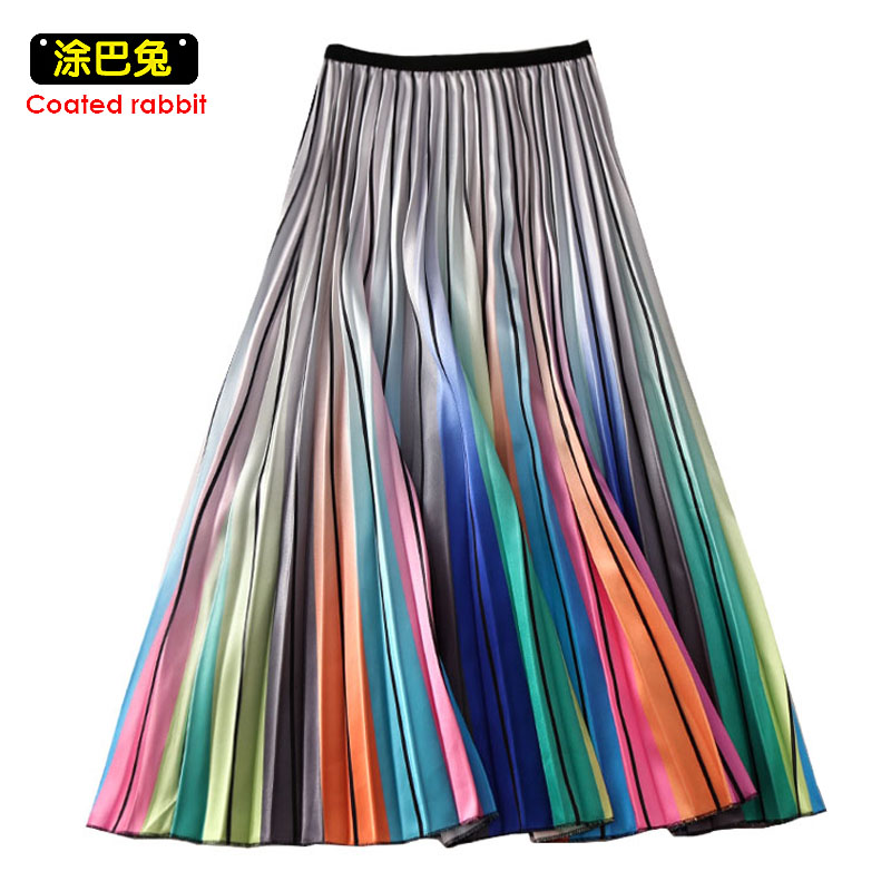 CR Woman High Waist Pleated Skirt Spring Summer Rainbow Skirts Lady Elastic Waist A Line Midi Skirt Mid Calf Long Skirts