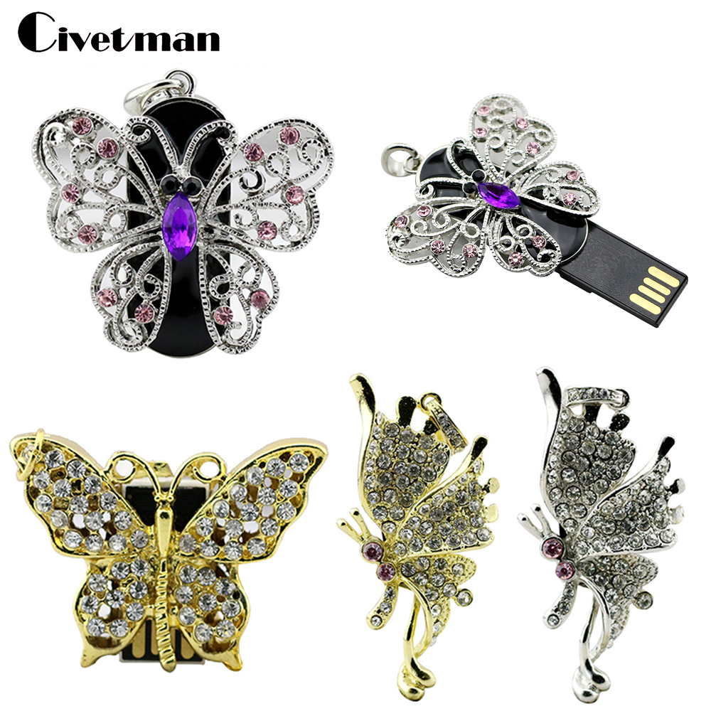 Personalized 4 Style Crystal Necklace Butterfly USB Flash Drive 4GB 8GB 16GB 32GB 64GB Mini Pen Drive Pendrive USB Memory Stick