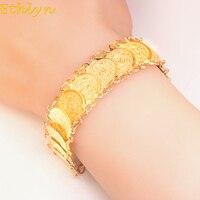 Ethlyn 19 см + 3 см классические Для женщин монета ювелирные изделия золото Цвет Для женщин браслет исламского арабском Ближнем Востоке подарки ...