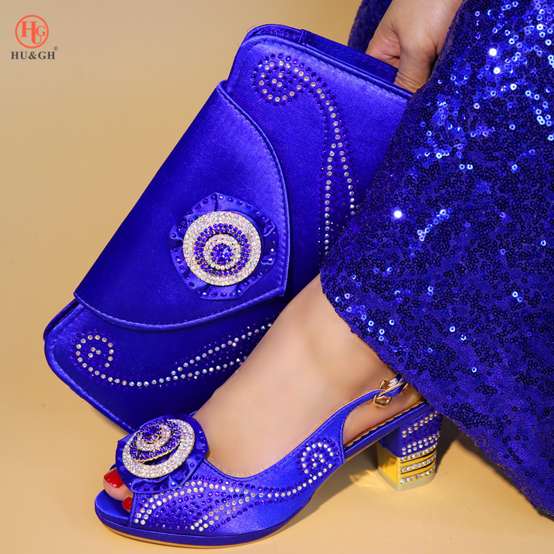 купить New Arrival Nigerian Shoes and Matching Bags African Shoes and Matching Bags Italian Women Wedding Shoes and Bag Set Royal Blue по цене 3971.05 рублей
