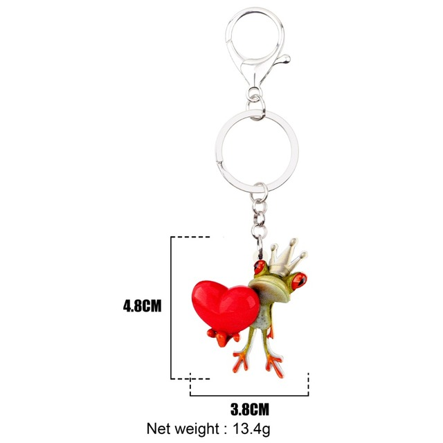 Bonsny Acrylic Prince Frog Crown Heart Keychains