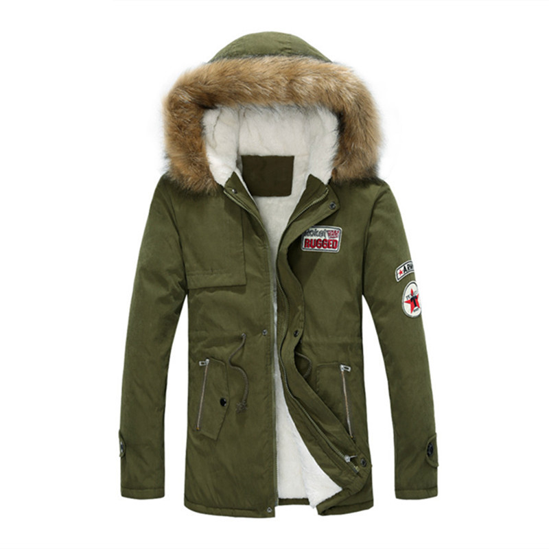 ФОТО 2017 men winter fashion upscale hooded thickening warm wool overcoat/ Men Parka Big Yards Long Cotton Coat Jacket Parka