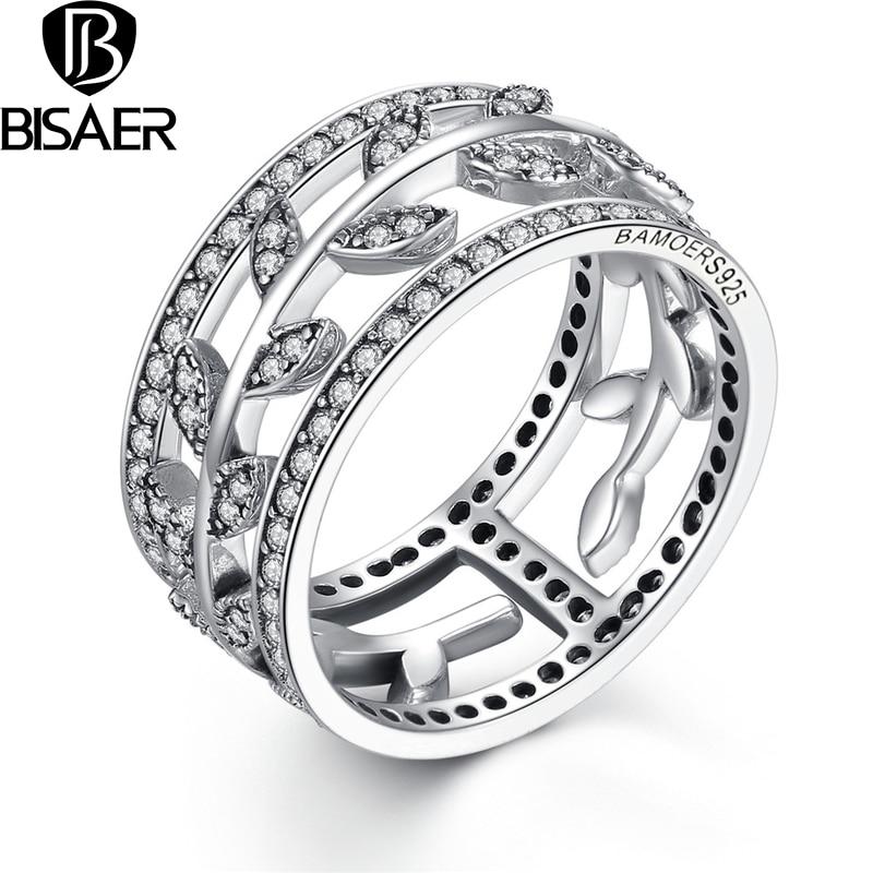36ba05da1b8c Bisaer genuino 925 plata esterlina vivid árbol hojas DIY 2 unids dedo anillo  de compromiso joyería partido HSR009