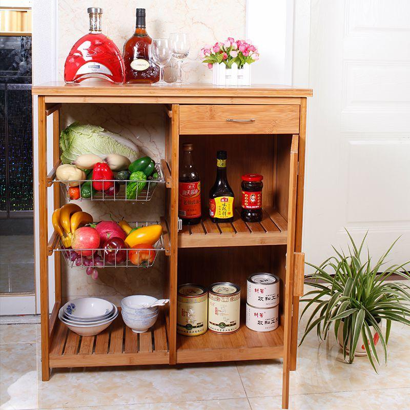 Bambu Murah Rak Microwave Penyimpanan Bu Dapur Kayu Solid Loker Dengan Pintu Di Meja Sisi Dari Furniture Aliexpress Alibaba