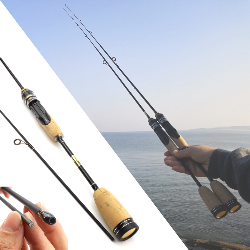 NEW 1.68M Ultra light lure rod ul power 2 6g  Lure Weight 3 7lb Carbon Fiber wooden handle Spinning fishing rod Fishing Tackle-in Fishing Rods from Sports & Entertainment