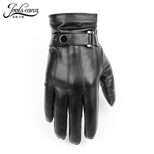 JOOLSCANA top1gloves men genuine leather winter Sensory tactical gloves fashion wrist touch screen drive autumn good quality