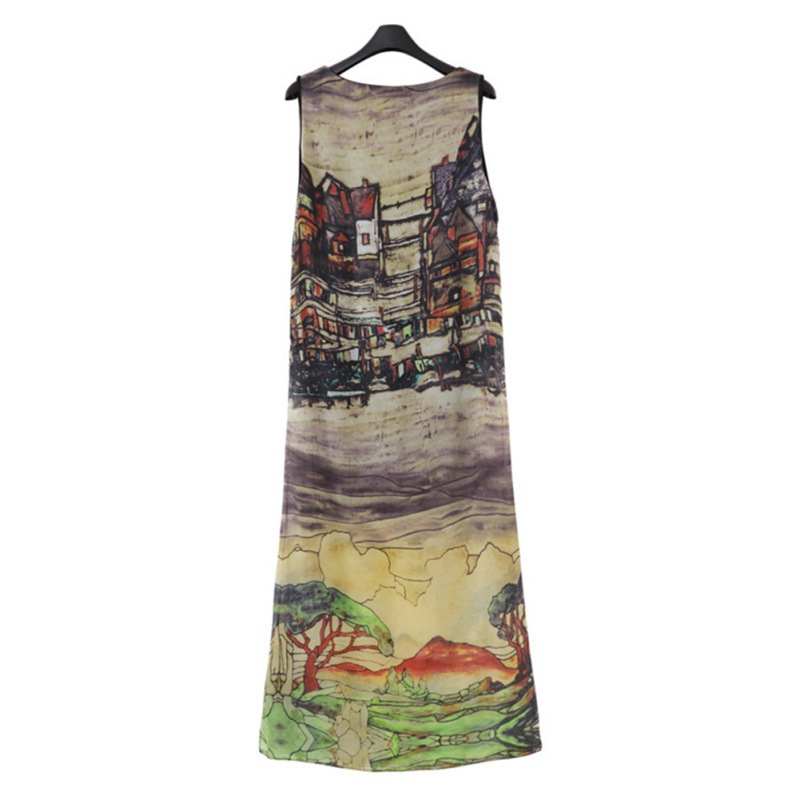 Women Sleeveless O-neck Summer Dress Hand Painted Landscapes Sundress Long Vestidos Plus Size Dresses