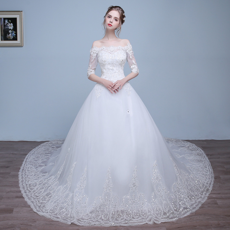 Vivian's Bridal Off Shoulder Illusion Half Sleeve Bridal Gown White Customized Appliques Chapel Train Crystal  Wedding Dresses