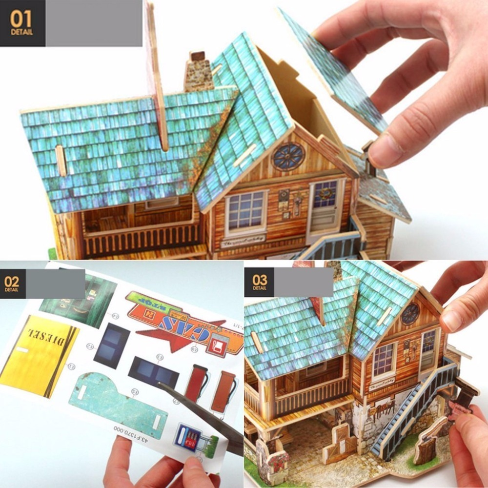 OCDAY 3D Wooden Building Kits Puzzle Toys for Adults Children Educational Board Games Model Assembly House DIY Toy Kids Gift