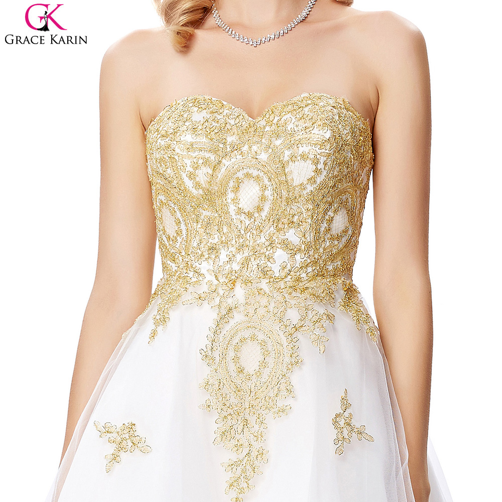 Grace Karin White And Gold Prom Dresses Short Formal Ball Gowns