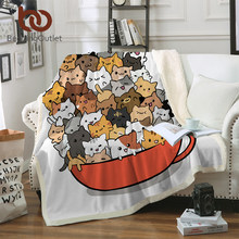 BeddingOutlet Teacup Cat Bed Blanket Cartoon Kids Throw Bedspread Cute Animal Sherpa Plush Blanket Cartoon Pet Bed manta Bedding(China)