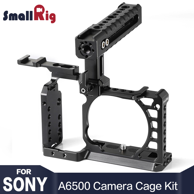 SmallRig A6500 Cage Kit for Sony A6500 Camera With Top Handle Cold Shoe Extension Aluminum Dual