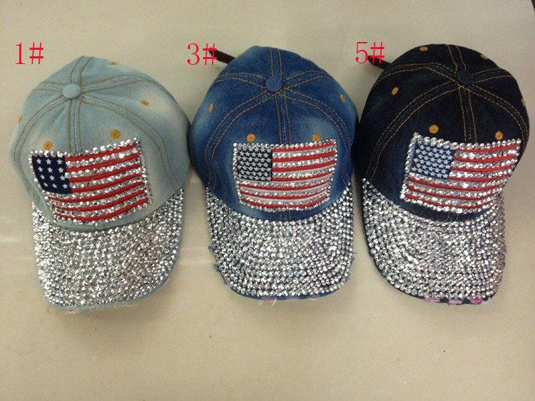 Prix pour Cow-boy au détail femmes drapeau diamant chapeau strass cap snapback chapeau diamant casquette de baseball strass baseball chapeau 1 pcs/lot Livraison