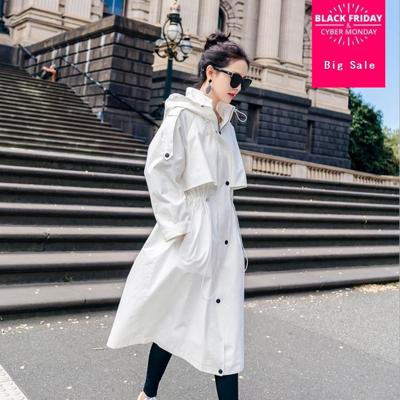 2018 autumn Coat Women White Designer Hooded Caped Long   Trench   Coat Oversize   Trench   Coat Outwear loose wild Coat Women L861