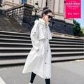 2018 autumn Coat Women White Designer Hooded Caped Long <font><b>Trench</b></font> Coat Oversize <font><b>Trench</b></font> Coat Outwear loose wild Coat Women L861