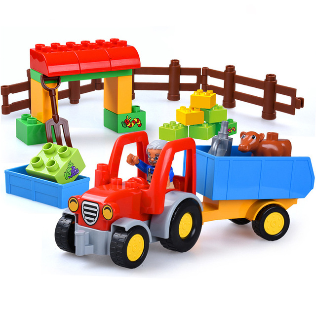32pcs Big Size Farm Tractor Compatible With Duplo Block Old Farmer