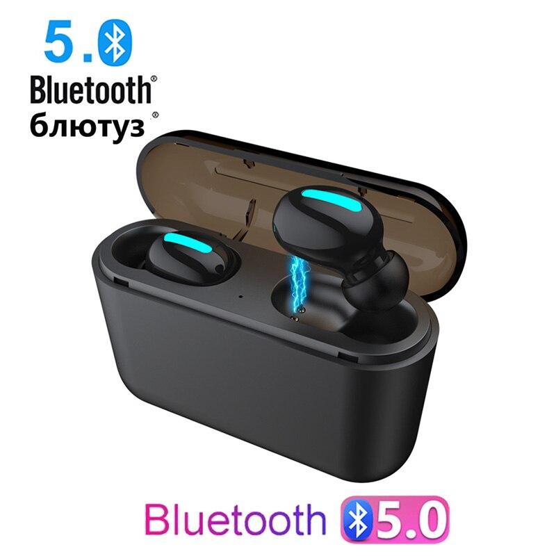 TWS True Wireless Earbuds Stereo Bluetooth Earphones Mini TWS Waterproof Headfrees with Charging Box for phone