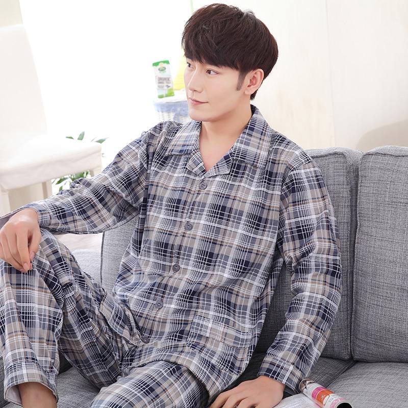 Men's Pajamas Spring Autumn Long Sleeve Sleepwear Cotton Plaid Cardigan Pyjamas Men Lounge Pajama Sets Plus Size M-3XL Pijamas
