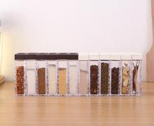 Acrylic transparent Spice Jar Colorful Lid Seasoning Box 6pcs/set Kitchen Tools Salt Condiment Cruet Storage box Containers
