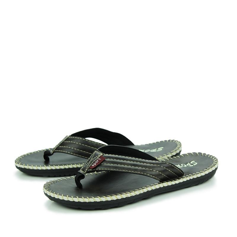 2016 Fashion Flat Flip Flops Men Leather Flip flops Mens ...