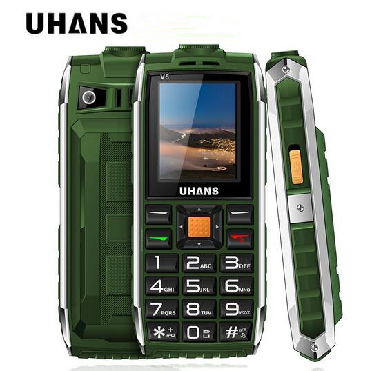 Uhans V5 Waterproof shockproof Elder cell phone Dual sim 2500Mah power bank Big box speaker Flashlight