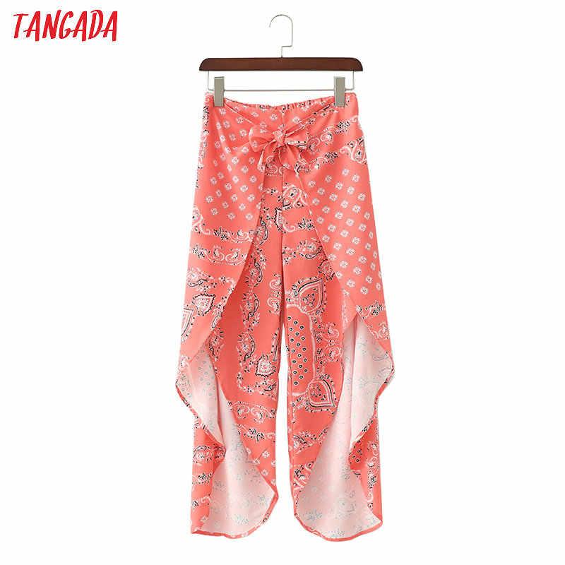 Tangada женские шифоновые красные широкие брюки с эластичной резинкой на талии дизайн галстук-бабочка брюки с принтом Пейсли женские укороченные брюки 1D326