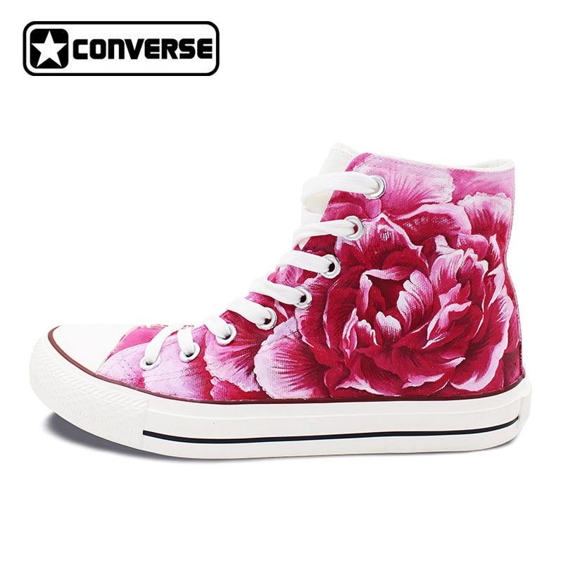 Для мужчин Для женщин Converse All Star оригинальный Дизайн Гвоздика цветок розовый Ручная роспись обувь холст кроссовки мужские и женские