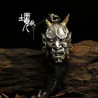 925 пробы Серебряный Evil Oni нох хання буддийская маска настроить Hanmade HANNY кулон цепочки и ожерелья