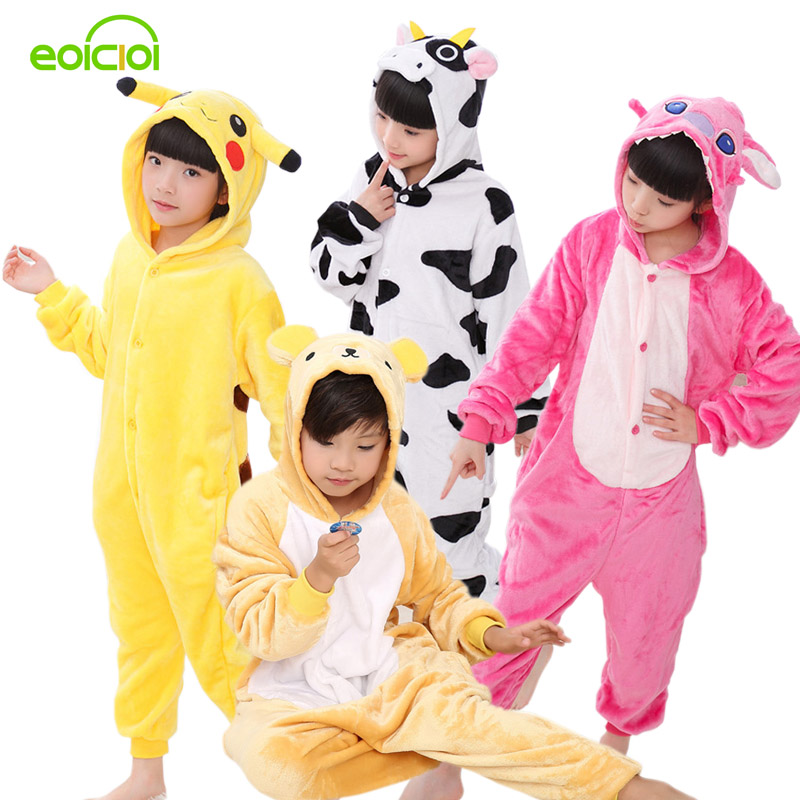 Kids pyjama Baby Boys Girls Unicorn Panda Pikachu Totoro Pig Children  pajamas set Flannel Stitch Animal Pajamas Onesies daefc1dd6284