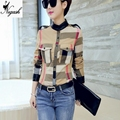New Classic Plaid Shirt Women blusas Stand Full Sleeve Artificial Leather Patchwork Blouse Shirt OL Work Shirt Top Plus Size