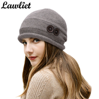 T178 Top Women Winter Beanie Hat Wool Knitted CRYSTAL Ladies Fashion Large Warm Ski Hats With