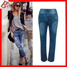 New Spring summer women pants ripped jeans loose large plus size high waist jeans denim pants casual mom jeans women summer loose large size jeans 2017 high quality embroidery ripped denim trousers fashion elastic waist slim type pants