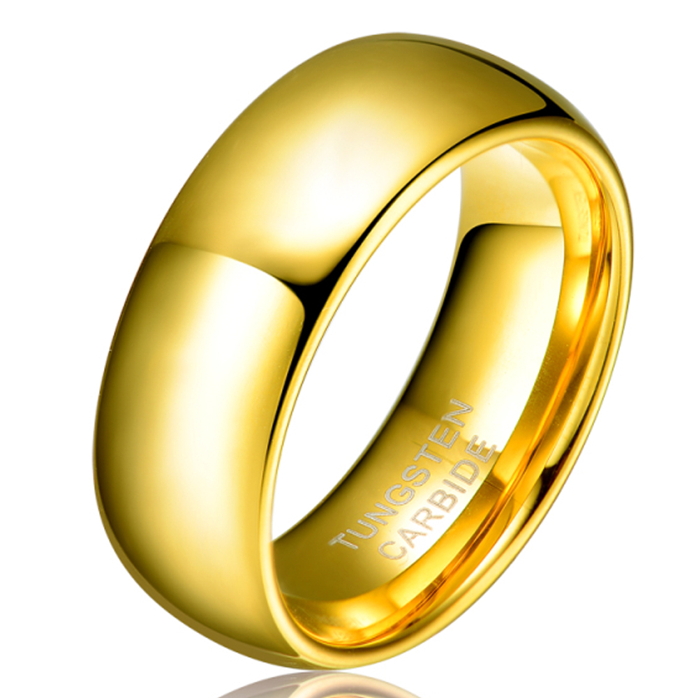 Engagement Rings No Stone: Men Women's Valentine's Gift 8mm Gold Plated Alliance