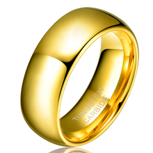 Hombres de las mujeres de san valentín regalo de 8mm chapado en oro alianza tungsten wedding engagement banda anillos no tamaño de la piedra 4-15 tu003r