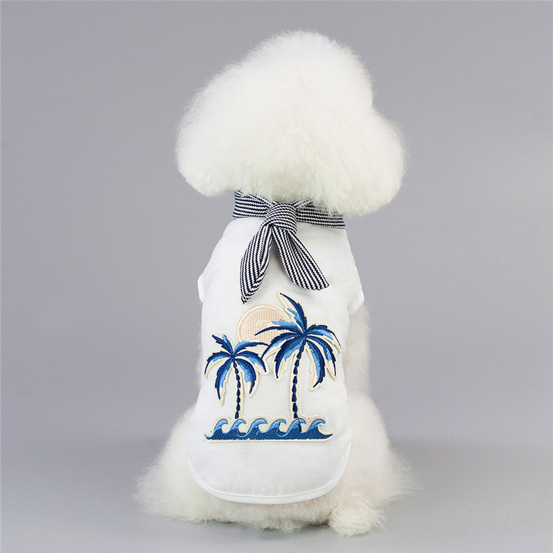 Summer Autumn Fashion Coconut Tree Embroidered Vest for Small Dog Puppy Pets Clothes Cotton Soft Breathable T-Shirt Dogs Cosutme