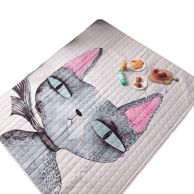 Cute Cartoon Animals Cat Face Baby Play Mats Baby Crawling Blanket Floor Kids Play Carpet Rug Kids Bedroom Decor Child Rug Mat leaves pineapple print floor rug