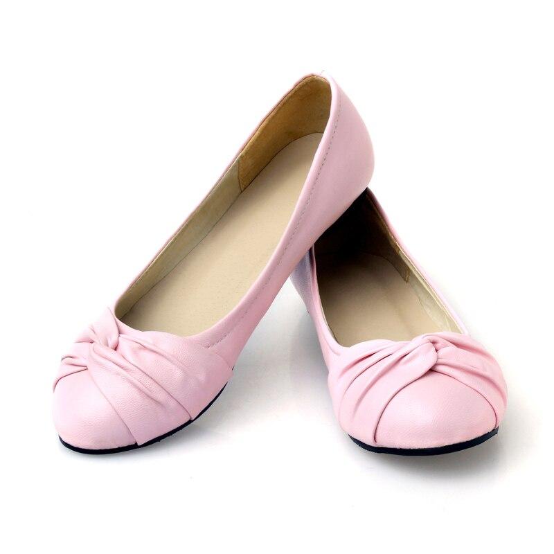 58dbd3684 Flats mulheres Ballet Bailarina Couro Dedo Do Pé Redondo Plissado Fêmea  Bonito Nó Rasa mocassim Conforto Calcanhar Plana Sapatos Tamanho Grande em  ...