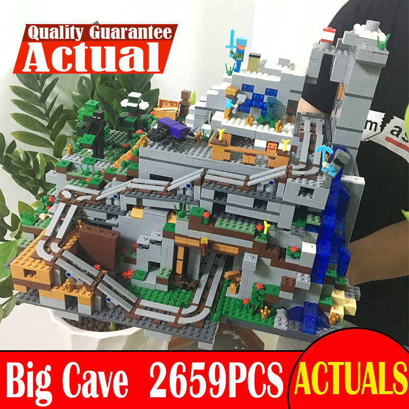 2659PCS My world Minecraft The Mountain Cave anime action figures Building Block Bricks hot Toy For Children Similar With 21137 lepin 404pcs my world the jungle temple minecraft model kit anime action figure building block bricks hot toy for children 21132