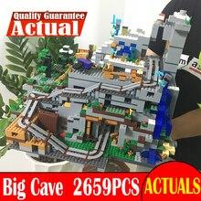 2659 шт. мой мир Minecraft в горной пещере Аниме фигурки Building Block кирпичи горячие игрушки для детей аналогичных с 21137