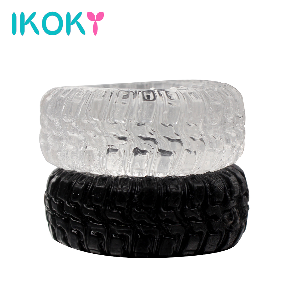IKOKY 2Pcs/Set Tire Type Silicone Delay Ejaculation Cock Rings Black/Transparent Sex Toys For Men Penis Rings Sex Cockring