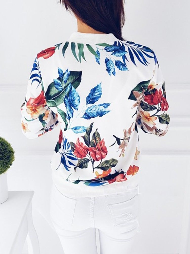 Ladies Floral Retro Slim Fit Coat Womens Casual Zipper Up Outwear Bomber Jacket